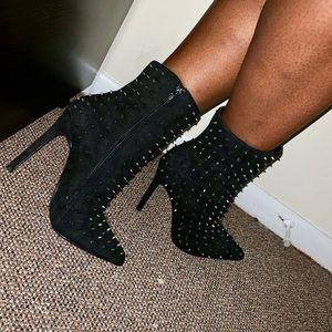 Black Spiked Heeled Booties